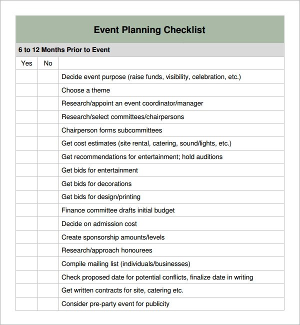 event planning checklist 6 download free documents in pdf