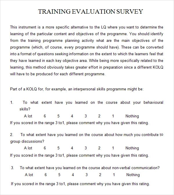 Training Evaluation Forms Templates training evaluation form 7 – Sample Training Survey