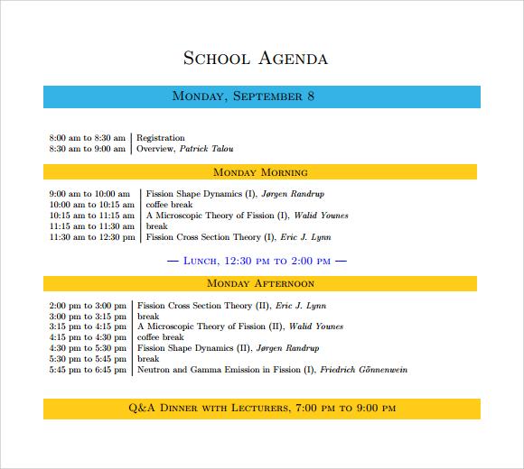 Sample Agenda Templates 10 project meeting agenda templates free – Sample School Agenda