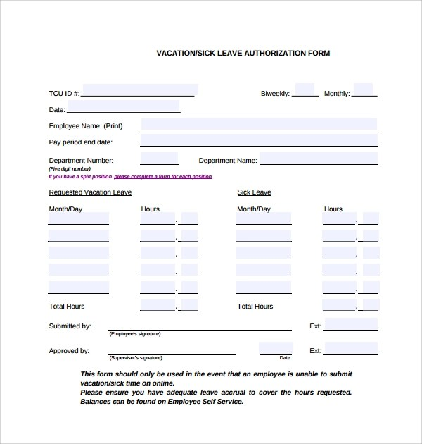 Free Sample Annual Leave Request Form Pdf 1 Page S. Annual Leave