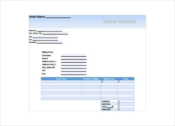 Sample Hotel Invoice neverageinfo – Sample Hotel Receipt Template