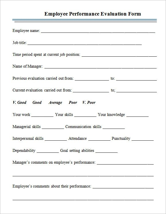 Free Employee Performance Evaluation Form Template  MytemplateCo