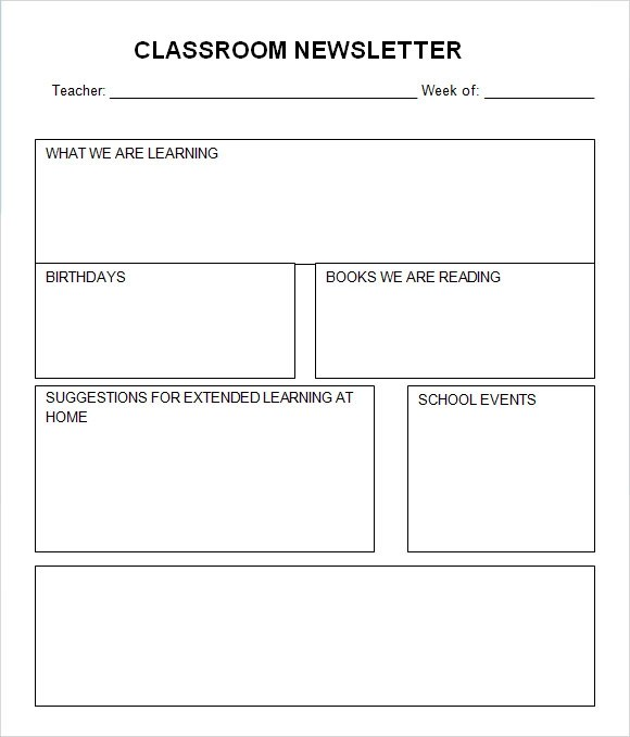9 Sample Classroom Newsletters In Pdf Word