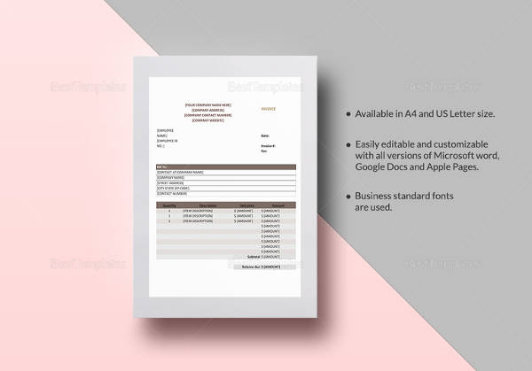 15 Sample Medical Invoice Templates to Download   Sample Templates sales invoice template  Download