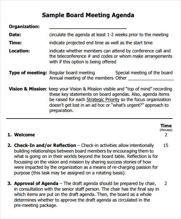 Board Meeting Templates business meeting invitation sample – Draft Meeting Agenda