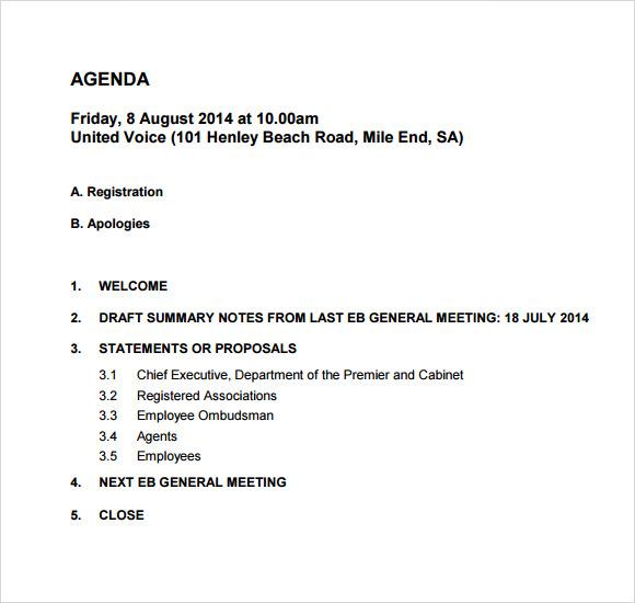 Manager Meeting Agenda Template agenda meeting template for – Draft Meeting Agenda