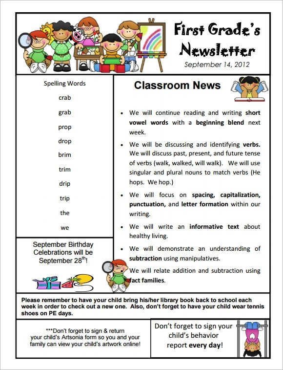 10 Sample Kindergarten Newsletter Templates In Sample