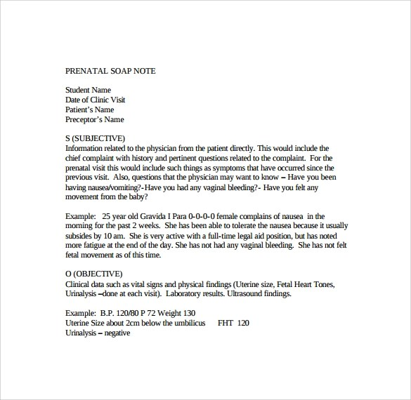 Examples Soap Notes Template Word