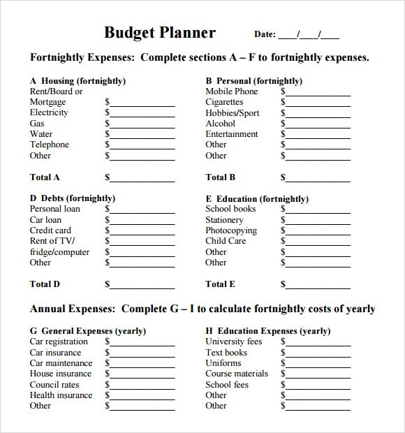 Personal Budget TemplateBudget Planner  All Form Templates