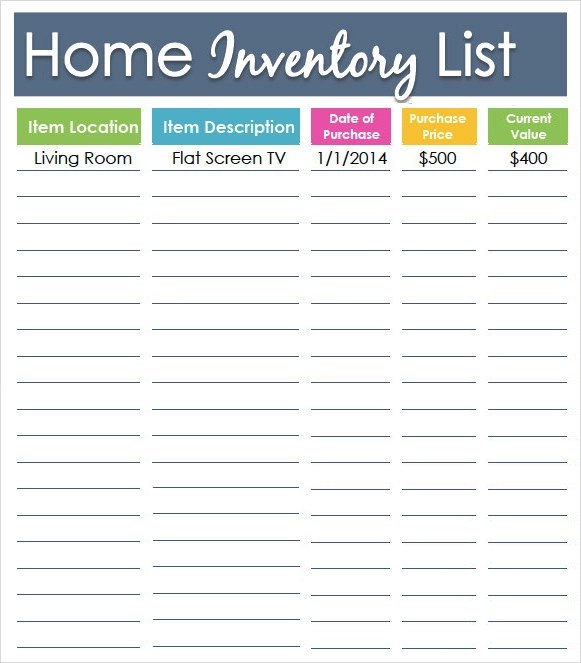 Furniture Inventory Template. sample inventory list template 7 ...