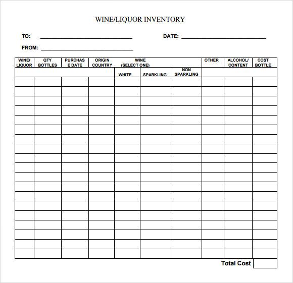 Free 8 Sample Liquor Inventory Templates In Pdf Excel