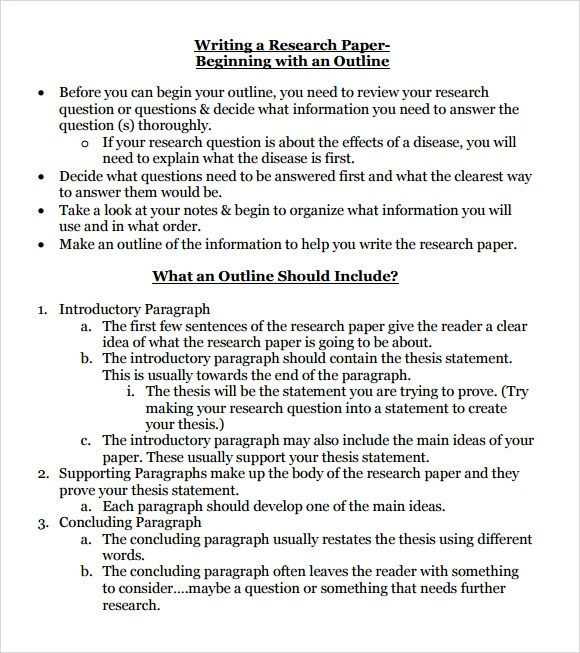 Research Paper Outline Format