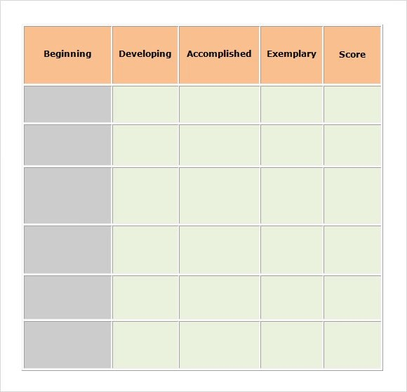 Business Rubric Templates