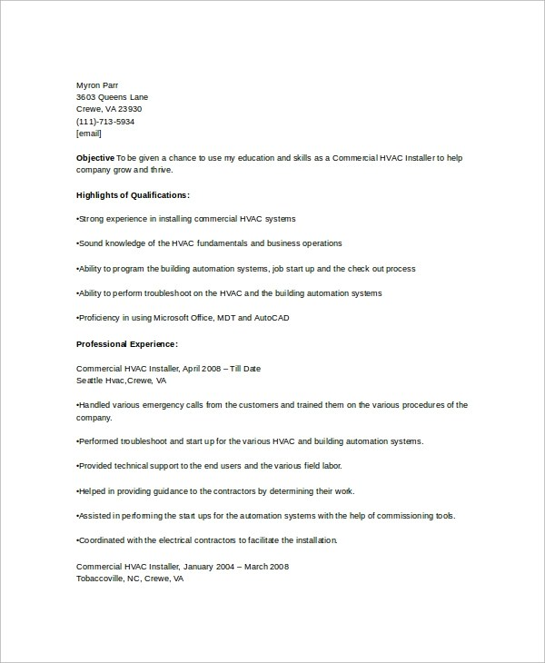 Hvac Resumes Templates. Hvac Resume Template 7 Free Samples