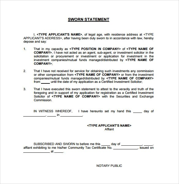 Statement Under Oath Template. Independence Of Representation In
