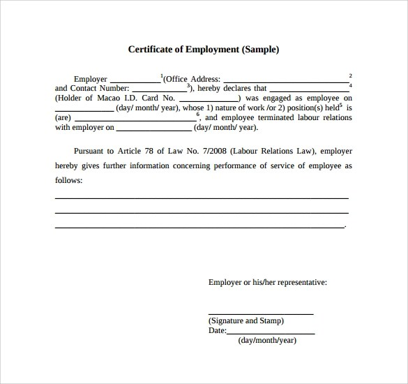 Certification Document Template doctor certificate template 17 – Sample of Certification of Employment