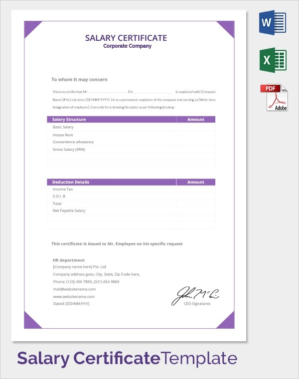 Corporate Certificate Template  of completion design by