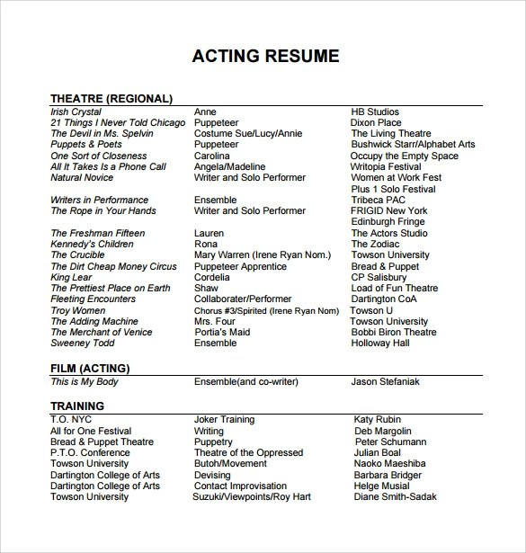 acting resume template free special skills acting resume template