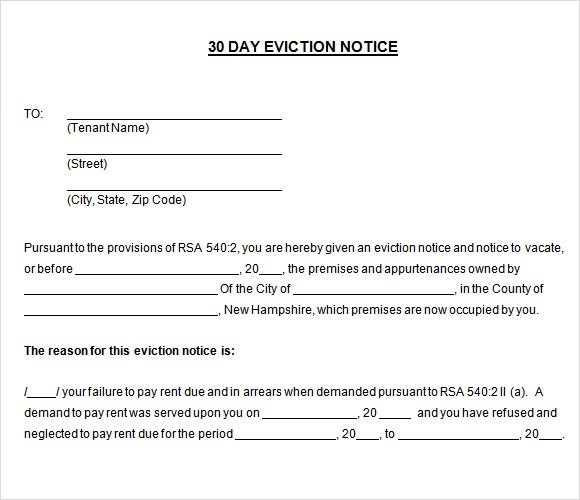 Eviction Template 30 day evictio eviction letter template – Printable Eviction Notice