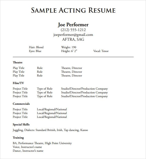 musical theatre resumes musical theatre resume smlf template