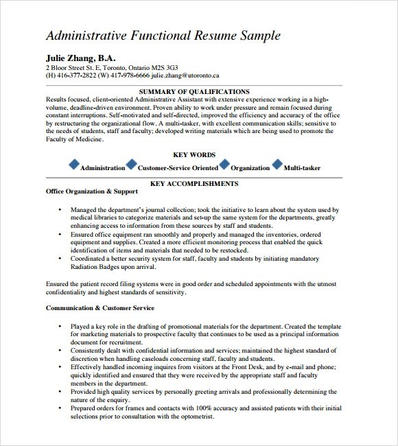 functional resume templates 8 samples examples format