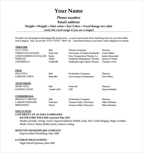 resume example child actor resume format 7 child actor resume