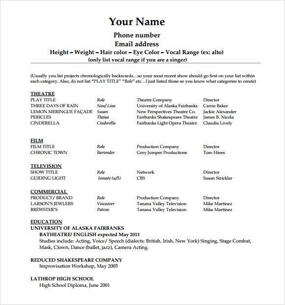 Beginner Actor Resume Format. Resume Examples Of Actors Resumes