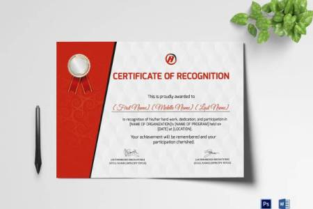9 Sample Printable Baby Dedication Certificate Templates   Sample     Certificate of Recognition for Dedication Template