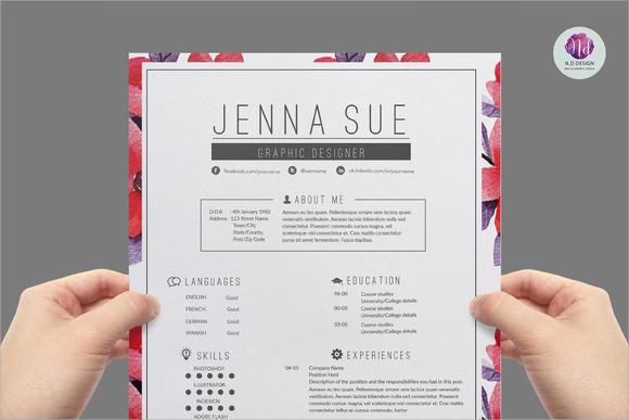 modern resume template indesign big image stock