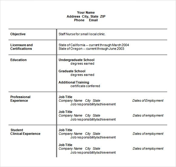 9 Sample Nursing Resumes Sample Templates