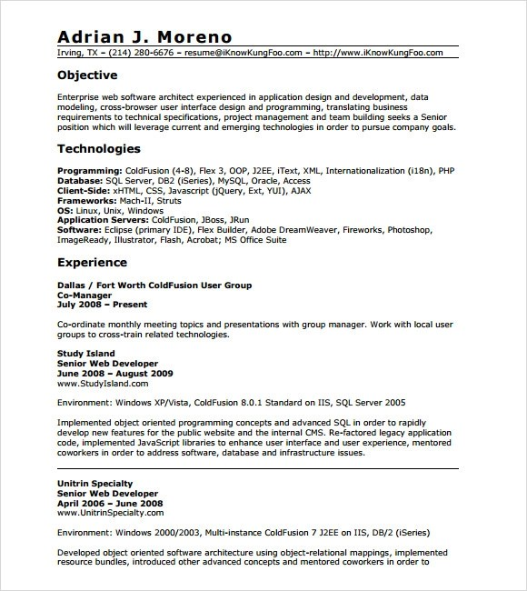 Resume For Net Developer With 2 Year Experience Asp Net 3 Years