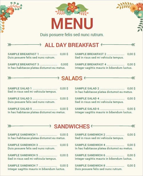 Cafe Menu Template Word cafe deli menu template word and – Cafe Menu Template Word
