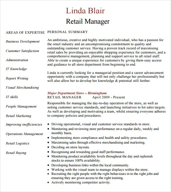 resume examples job description retail manager cv template resume