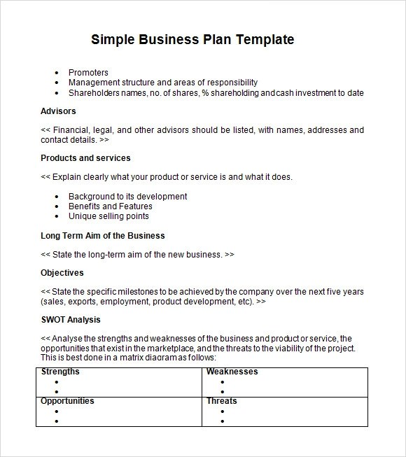 Template Business Plan. simple free. bussines plan template 17 ...