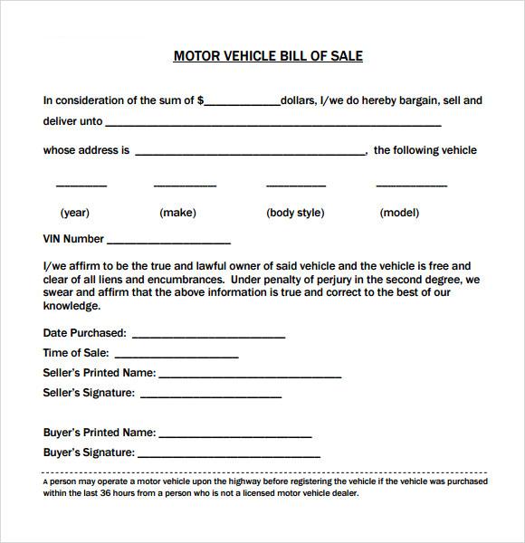 Free 12 Sample Vehicle Bill Of Sales In Pdf Word