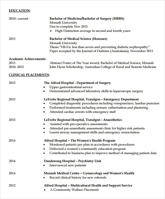 Medical School Resume Format | Resume Format And Resume Maker