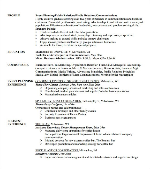 Event Planner Resume Objective event coordinator resume event – Resume for Event Planner