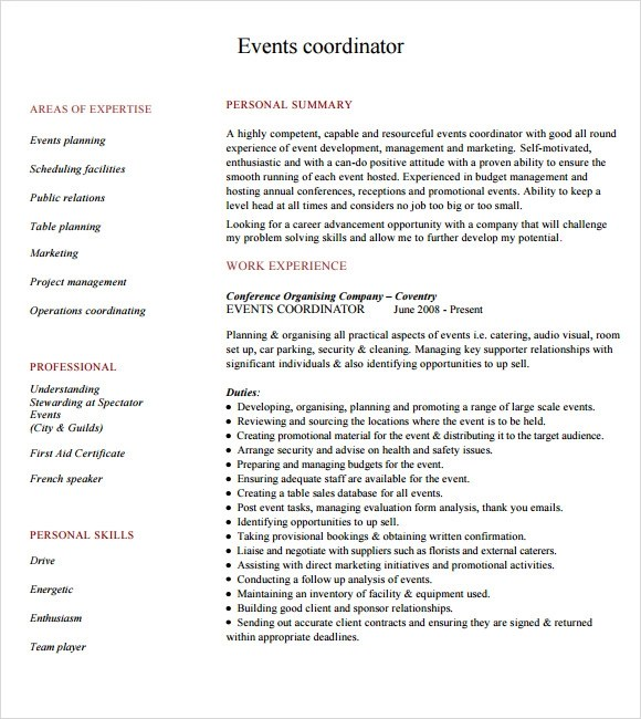 Planner Resume Objective management production coordinator resume – Event Planner Resume Objective