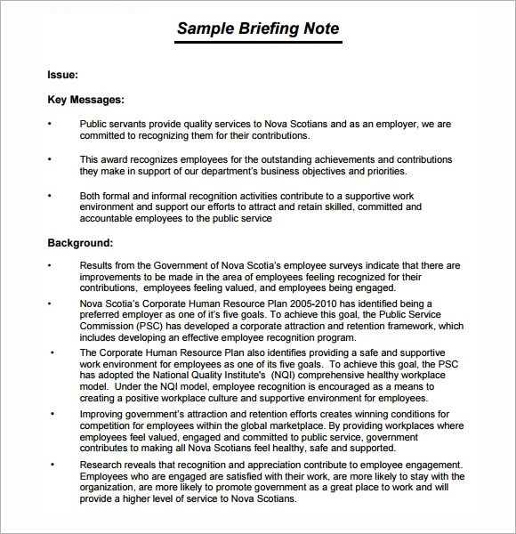 briefing note template 7 download documents in pdf psd word