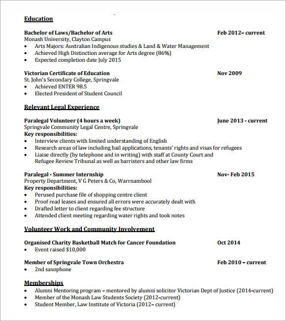 Resume for law firm internship