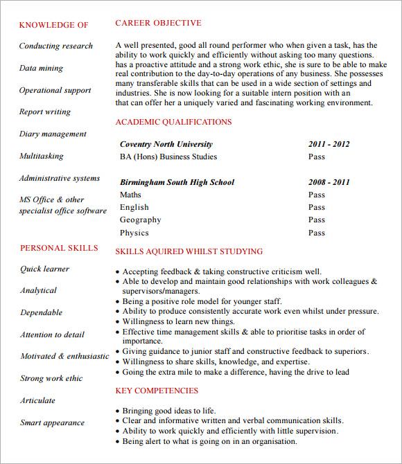 Internship Sample Resume. Resume Sample Internship Resume Examples
