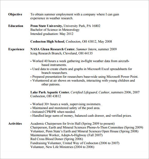 It Internship Resume. Internship Resume Example Sample