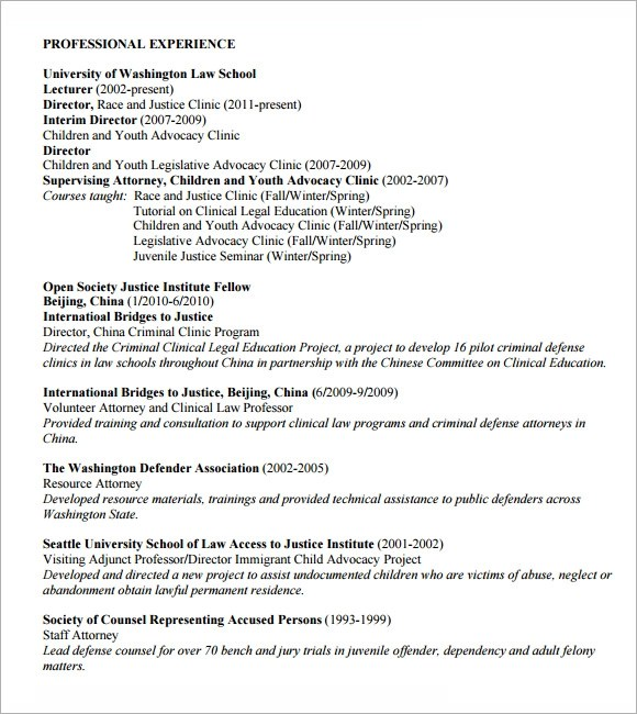lawyer resume template sample
