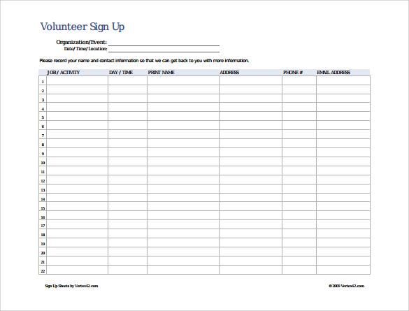 Editable Potluck Sign Up Sheet
