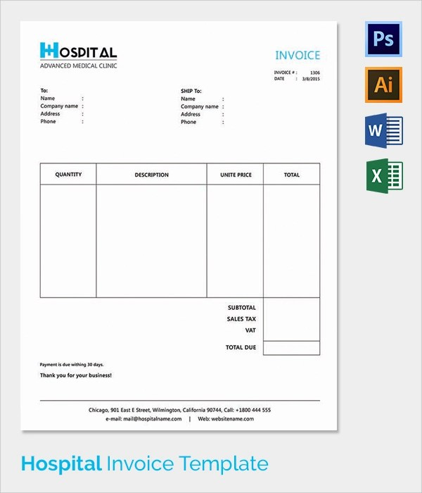 Hospital Invoice Template medical invoice template medical – Hospital Invoice Template