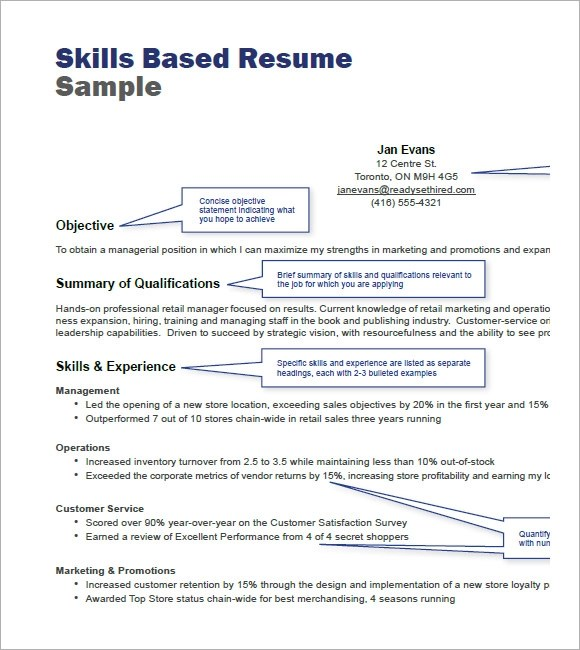 Resume Template Skills Based. Example Section On. Functional