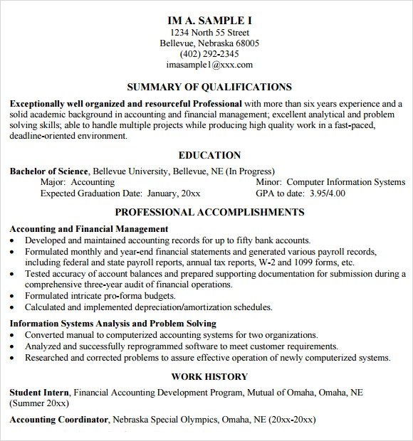 Cpa Resume Template Word. Download Accountant Resume Sample Word