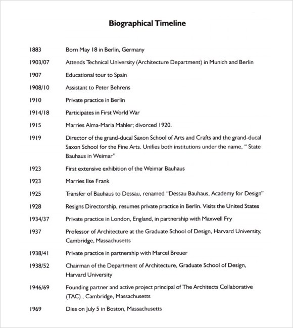 Free 7 Biography Timeline Templates In Pdf