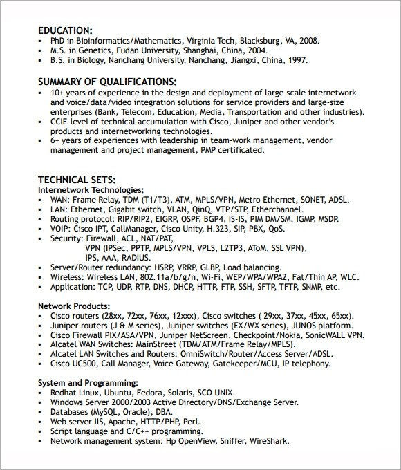 free samples examples format networking engineer resume format