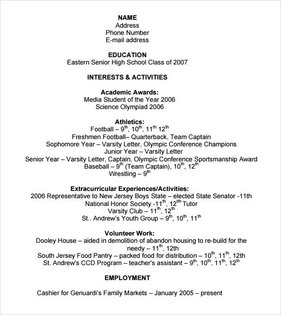 sample college resume high school senior sample resume and free - Sample College Resumes For High School Seniors